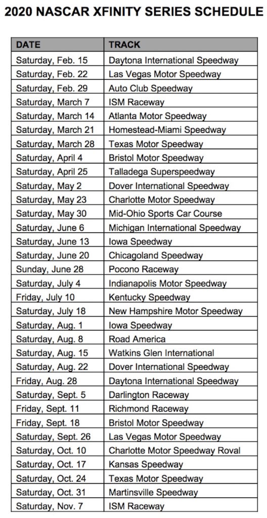 Nascar 2020 Schedule Dates NASCAR Truck, Xfinity: 2020 schedules revealed | Auto Racing Daily