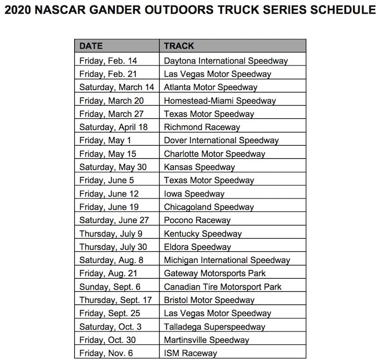 NASCAR Truck, Xfinity: 2020 Schedules Revealed