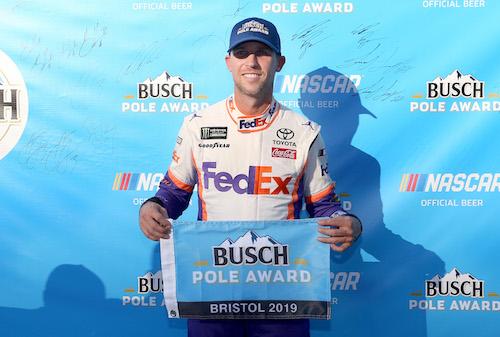 NASCAR Cup: Denny Hamlin wins Toyota's first pole of season at Bristol