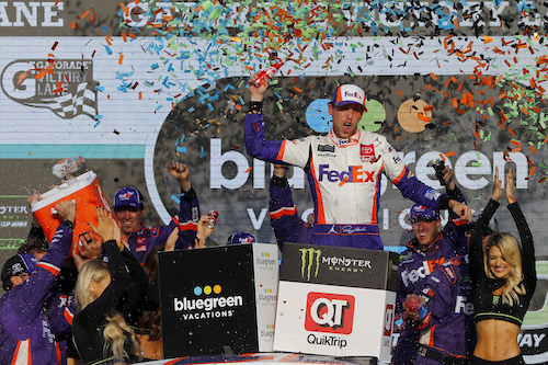 NASCAR Cup: Denny Hamlin survives in playoffs with ISM Raceway win, championship four set